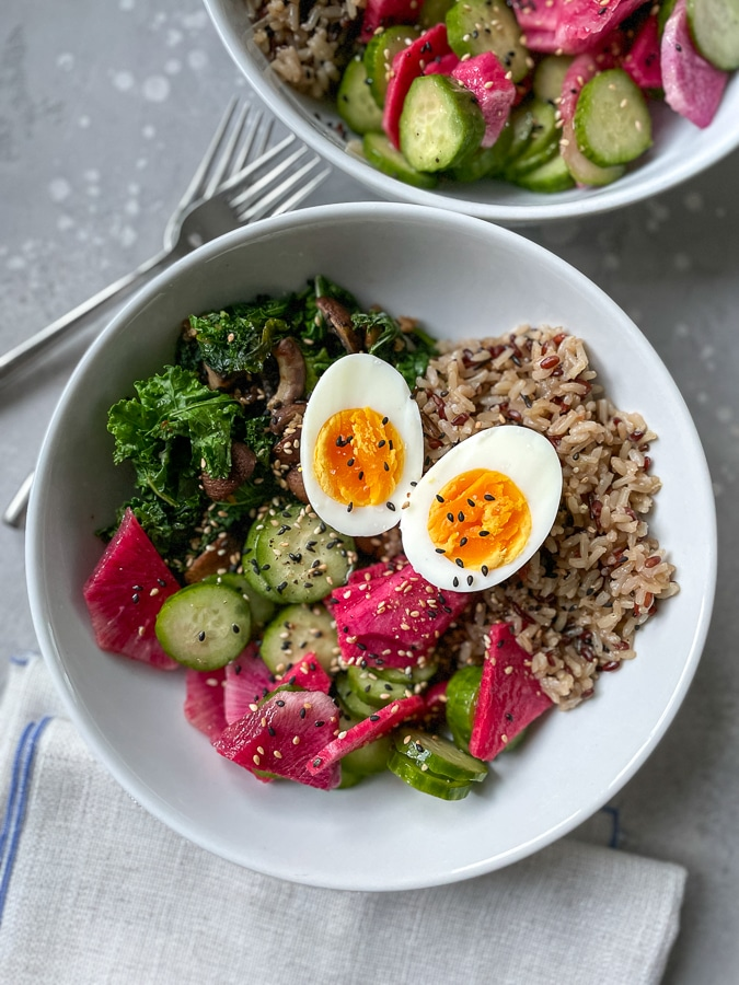 Egg, radish, cucumbers, rice, and kale from Blue Apron