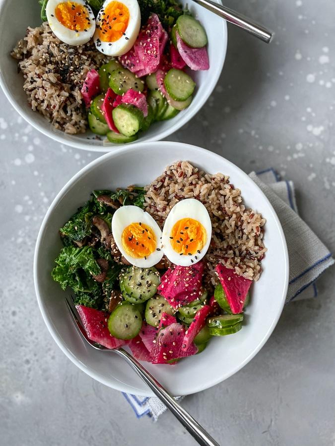 Blue Apron egg and radish bowl