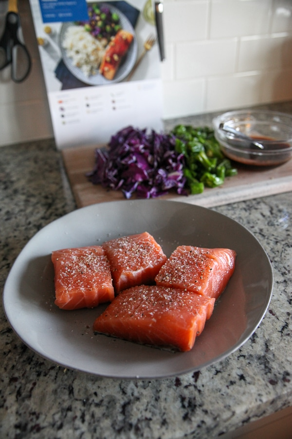 raw salmon fillets with seasoning on white plate