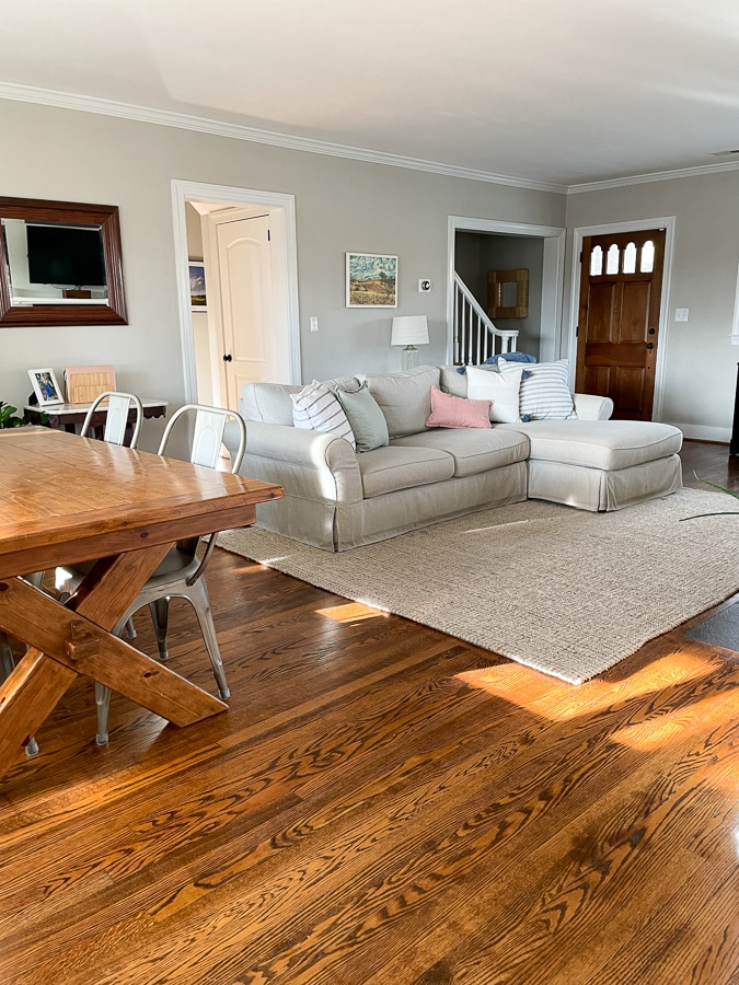Pottery Barn couch, rug and dining room table