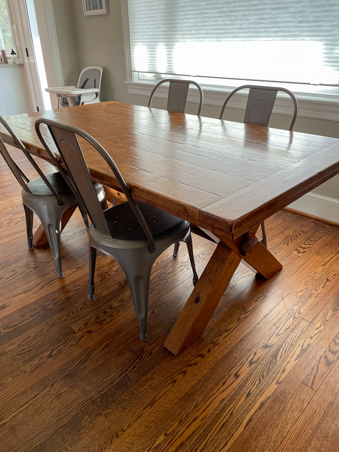 toscana table from Pottery Barn with Restoration Hardware Remy side chairs
