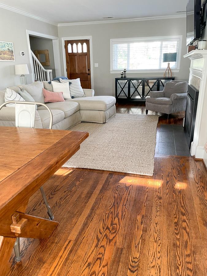 Living room rug and sofa