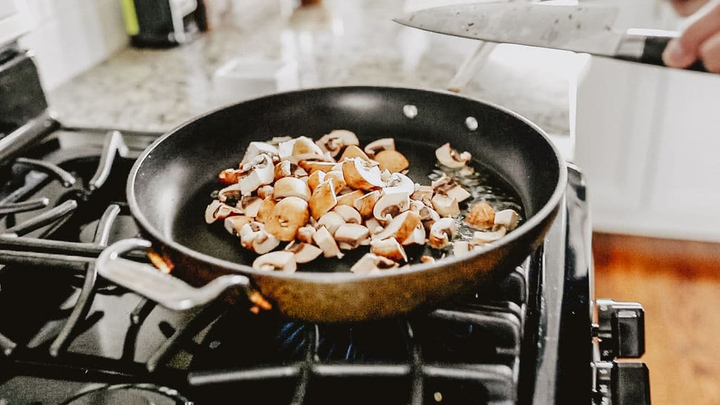 mushrooms sizzling