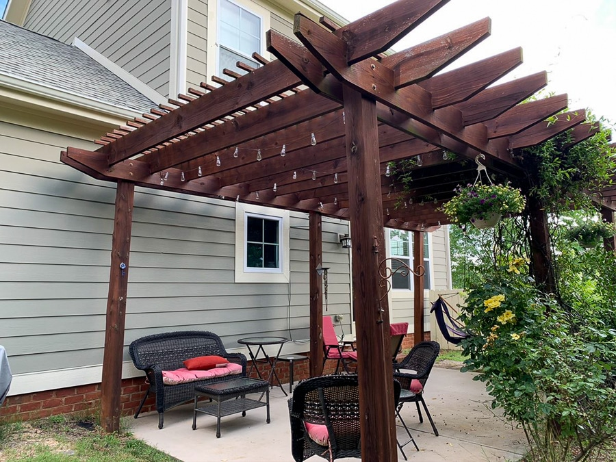 before pic of porch with pergola