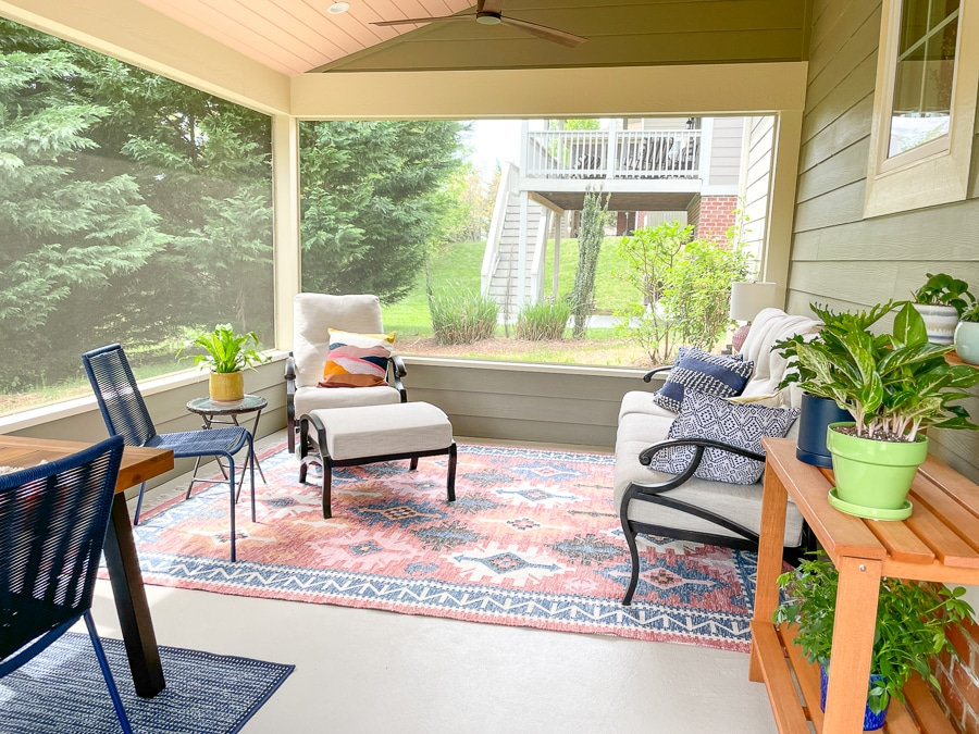 colorful screened in porch