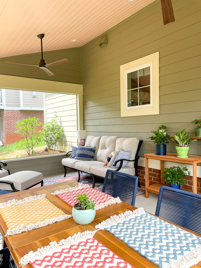 colorful screened porch decor with green and pink