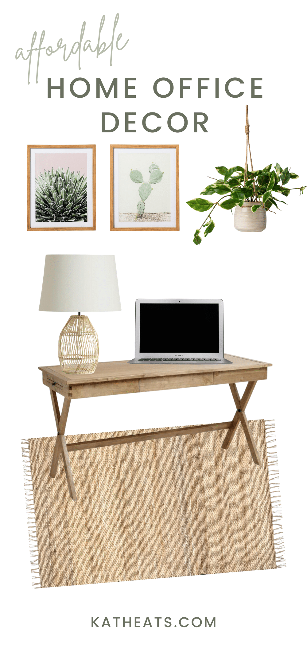 affordable home office decor - natural look
