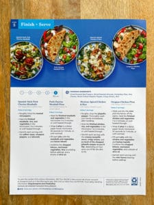 meal prep recipe card instructions