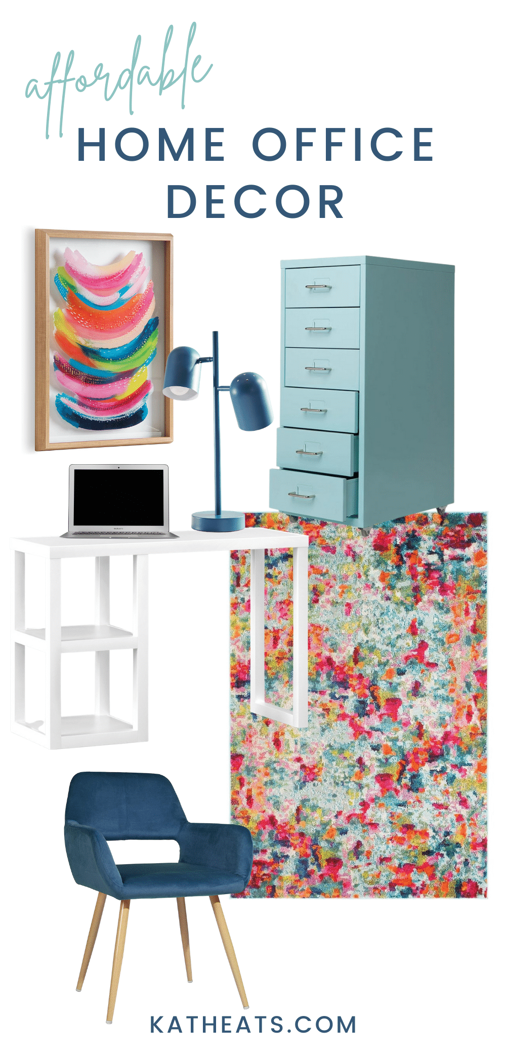 affordable home office decor - bright and bold look