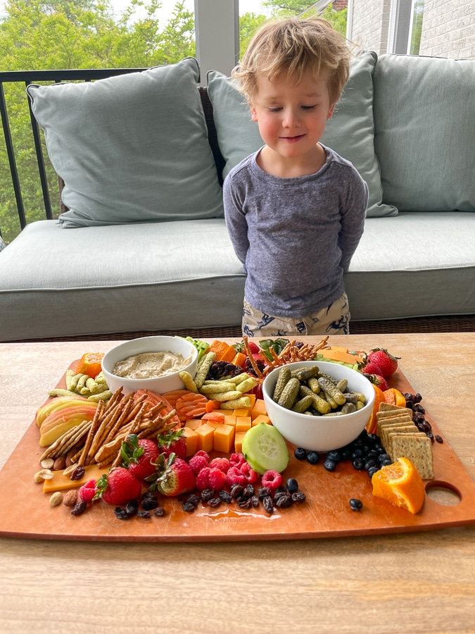 toddler pleased about Kids Charcuterie Board