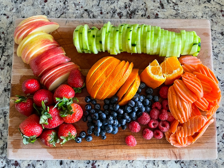 fresh fruit and vegetables washed and sliced