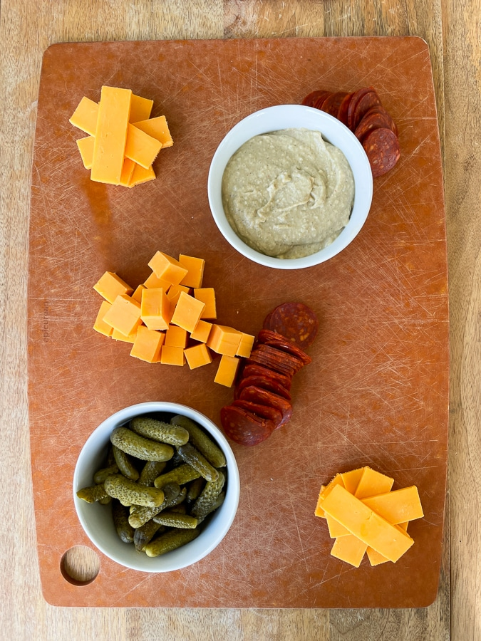 Kids Charcuterie Boardwith bowls, cheese, and pepperoni