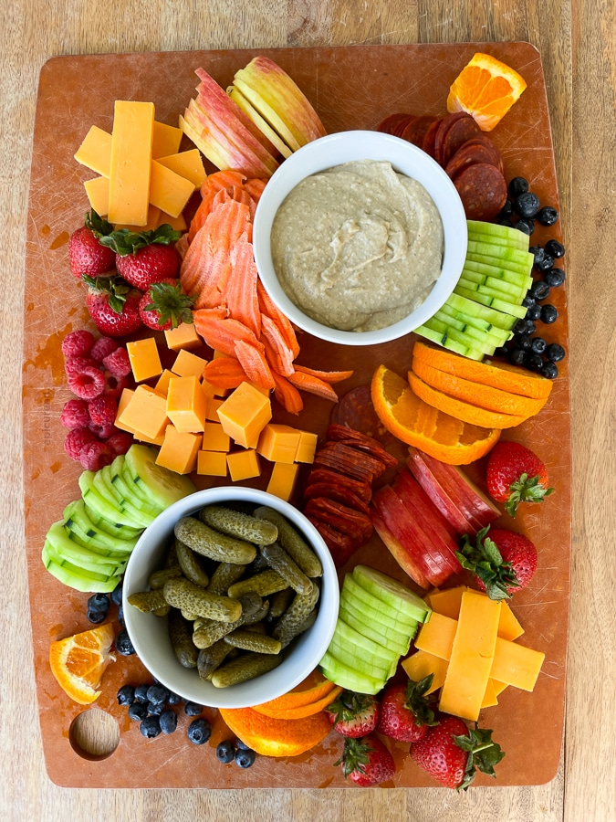 Kids Charcuterie Board with fresh fruit added