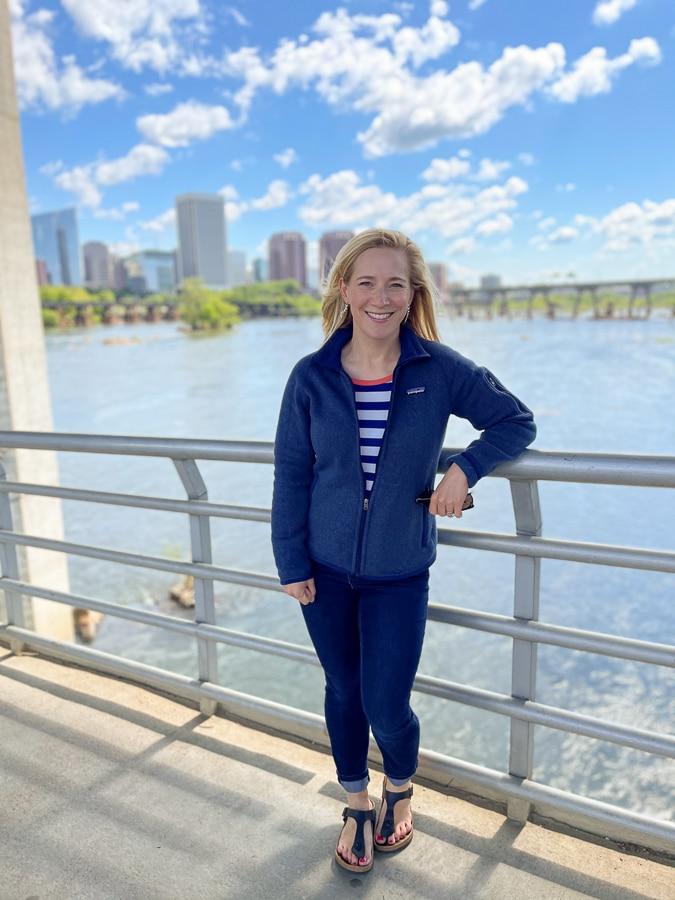 Kath on the James River foot bridge