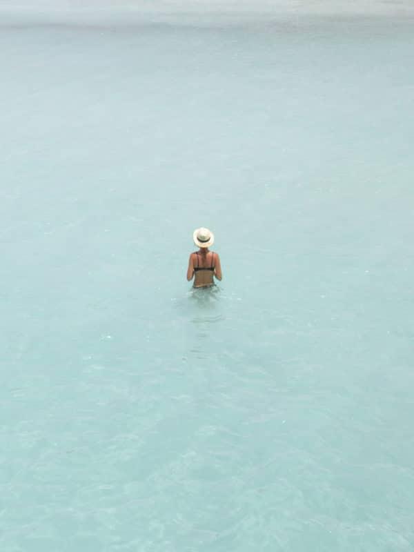 woman resting in the ocean