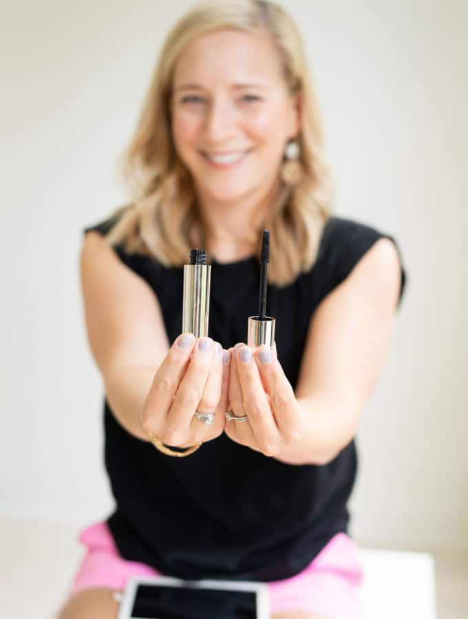 new beautycounter mascara tube and want in Kath's hands