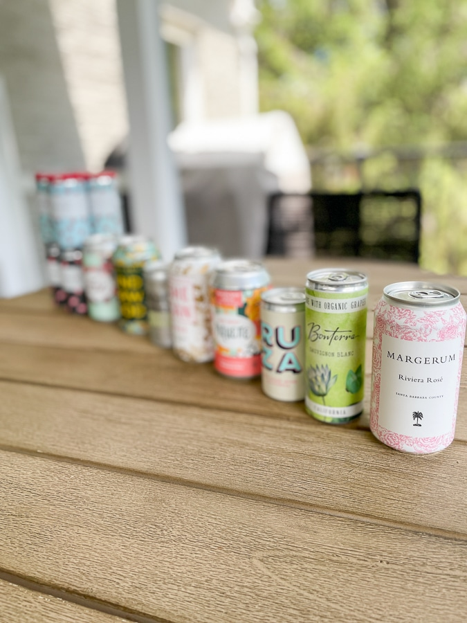 canned wines in a row leading with rose