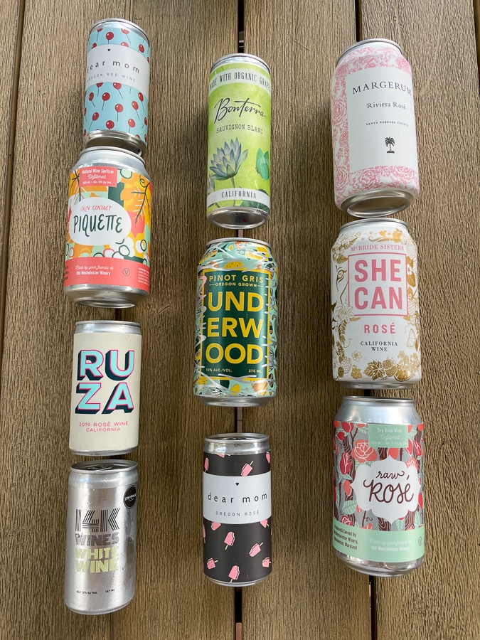 Canned wines lined up in rows