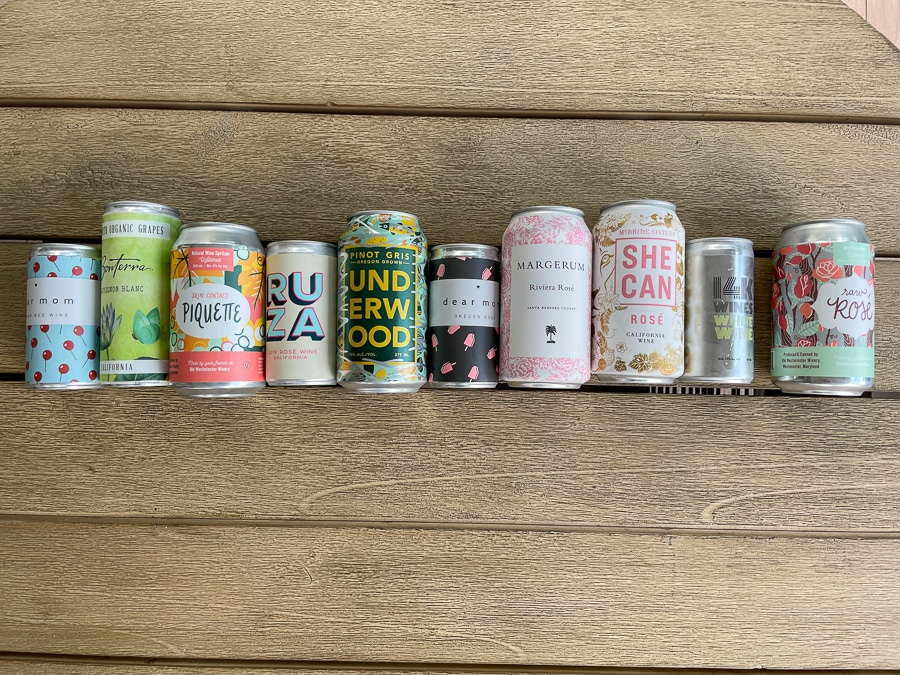 the best canned wines lined up