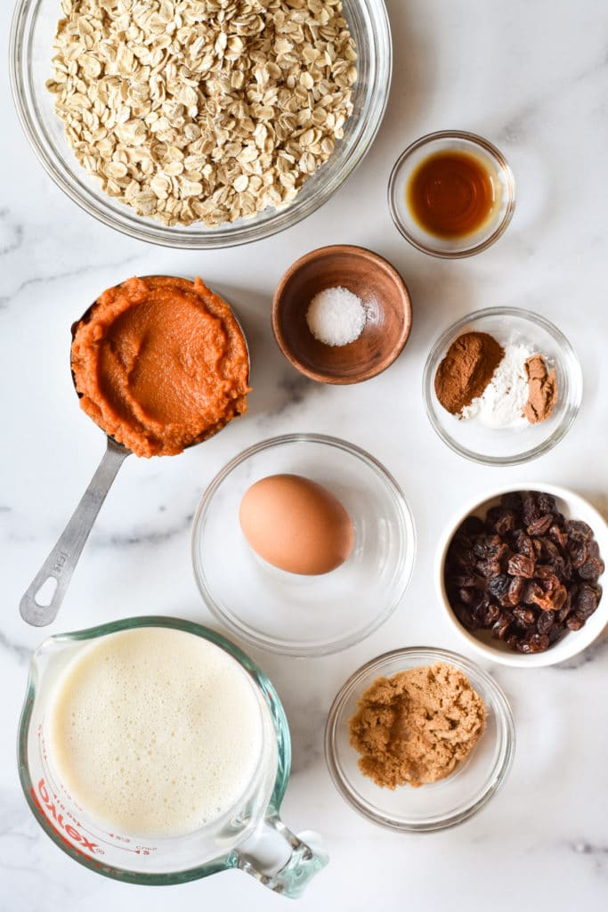 ingredients for a healthy baked oatmeal