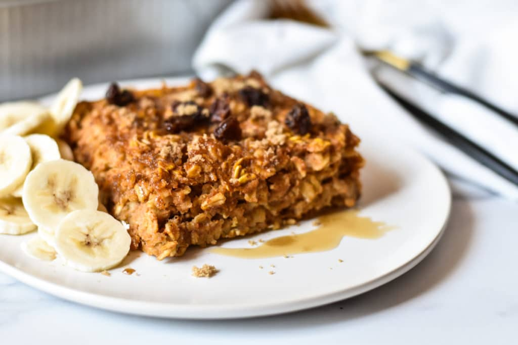 serving of baked oatmeal with bananas on a plate