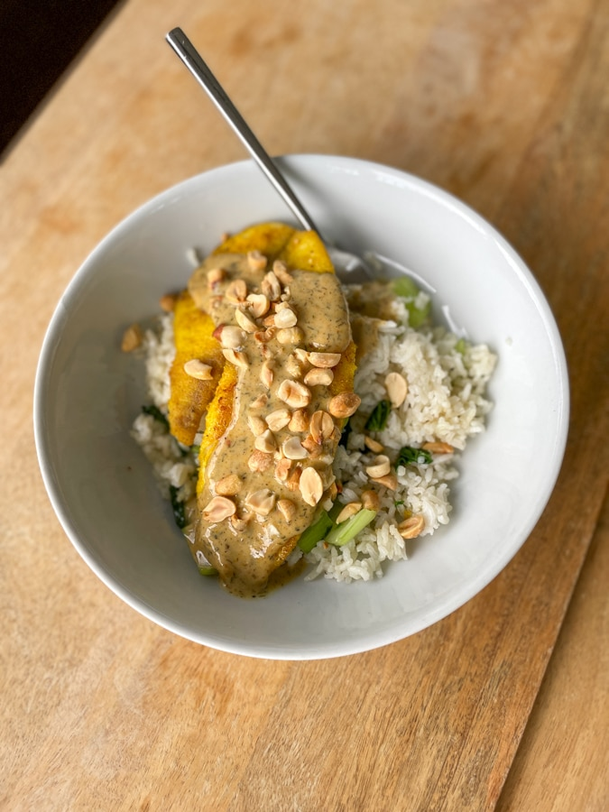 Tilapia & Creamy Curry Sauce with Sesame & Bok Choy Rice