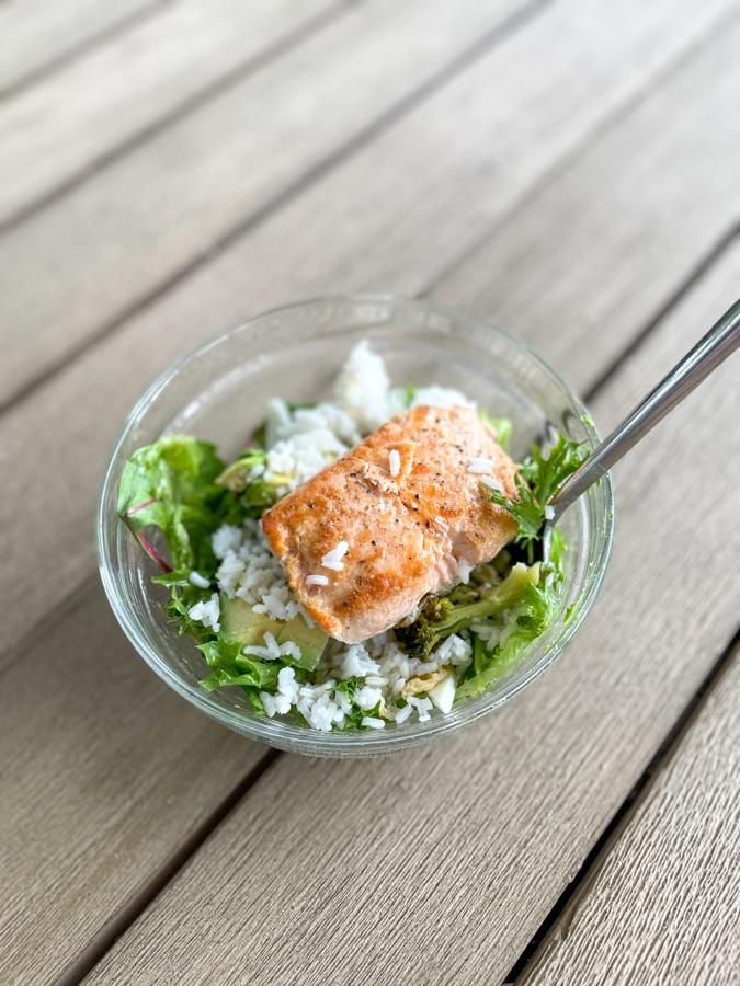 Salmon salad in a Hugh Jass bowl