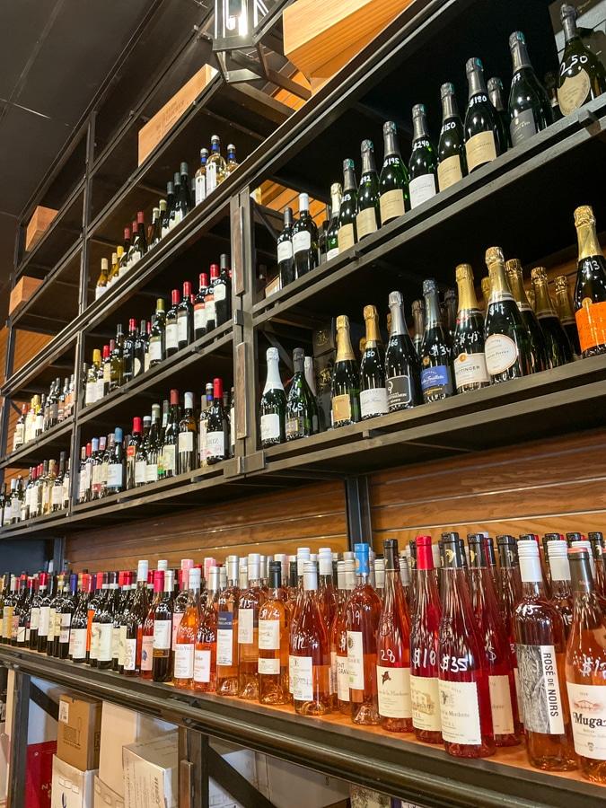 wine on shelves