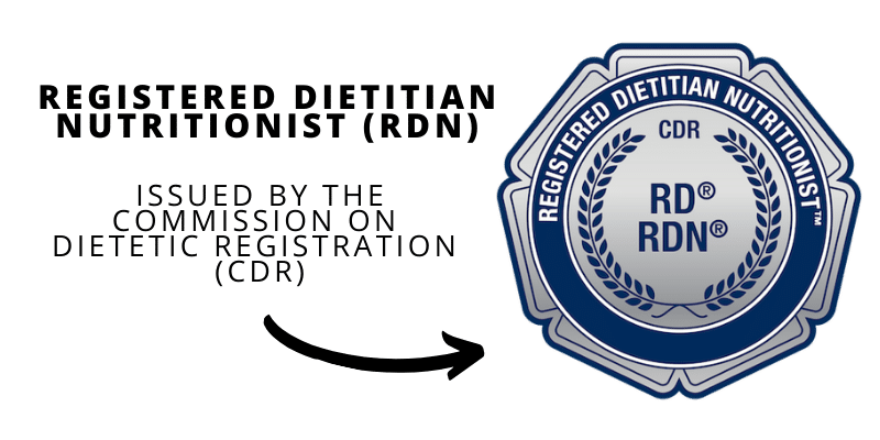 official credential badge for Registered Dietitian Nutritionist (RDN) Issued by the Commission on Dietetic Registration (CDR)