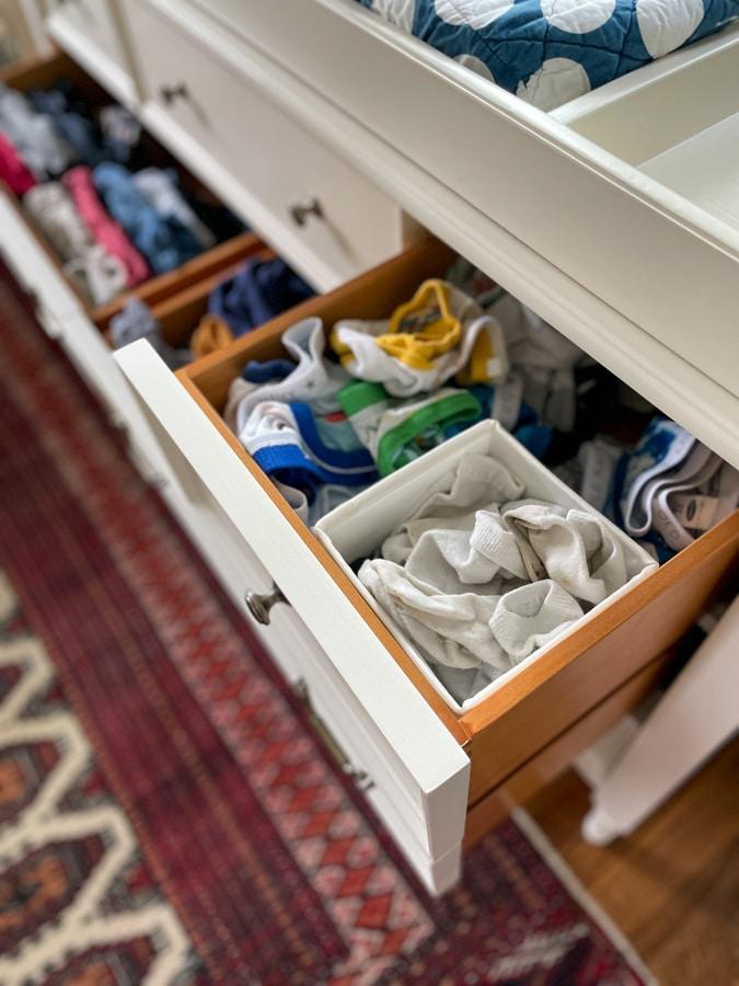 sock and underwear drawer in blithe dresser