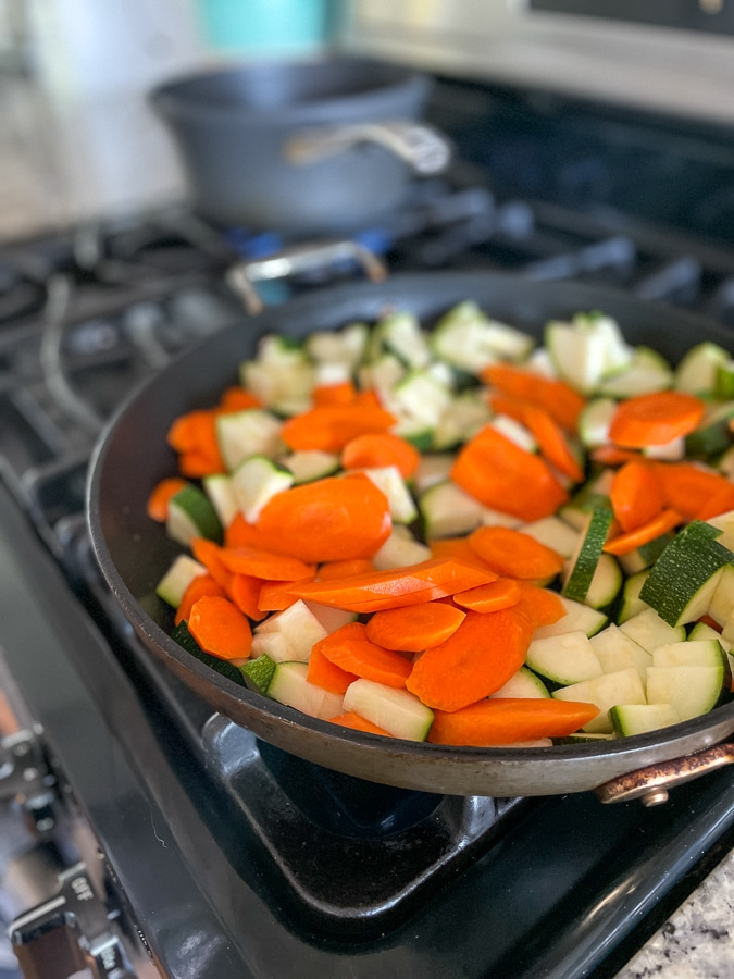 cooking carrots and zucchini