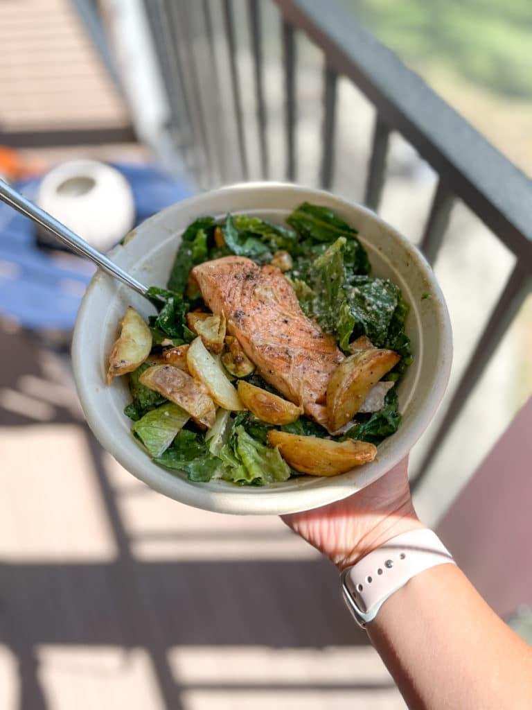 Salmon and potatoes on a Bodos salad
