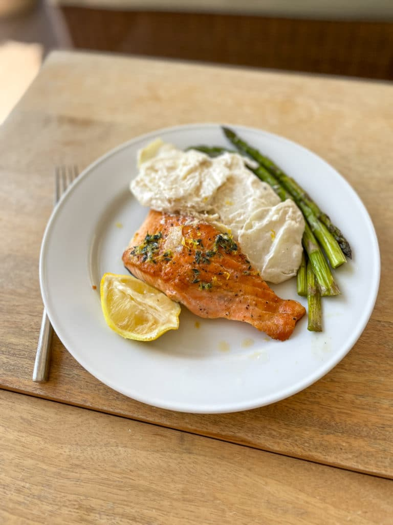 Salmon with scalloped potatoes and asparagus