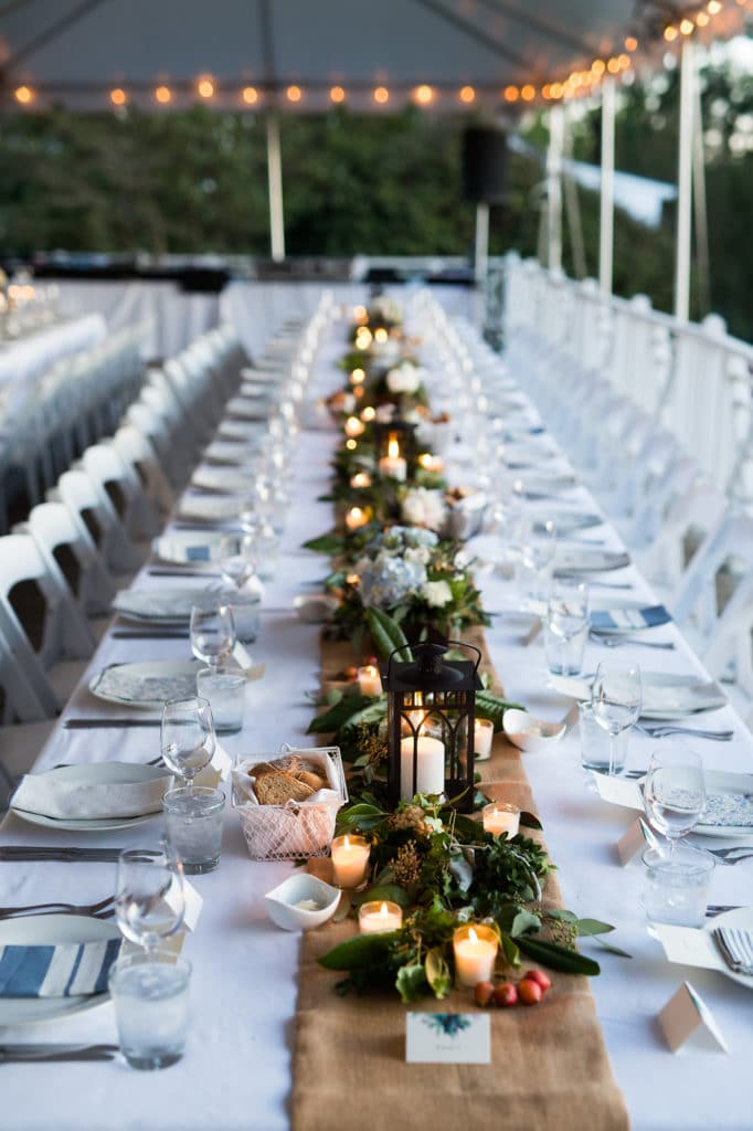 the clifton wedding table with burlap and lanterns