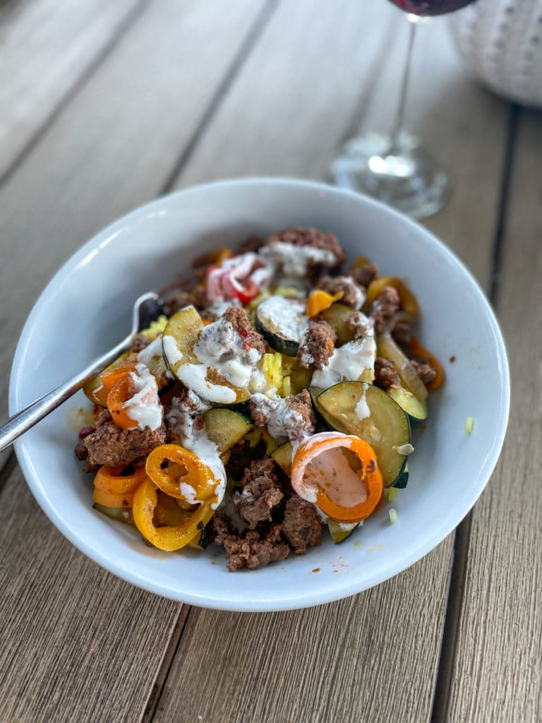 Beef, rice and zucchini bowls | Whats New in KERF Land